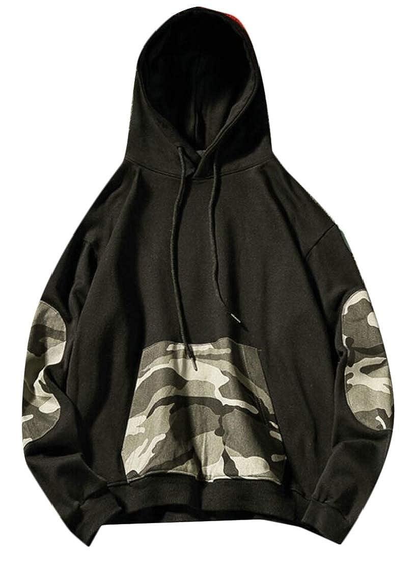 Generic Mens Stylish Big and Tall Hoodies Camo Patchwork Pullover Sweatshirts