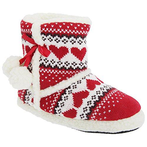 Slumberezz warm boot slippers pretty heart design for women Red