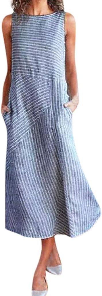 Dress,OOEOO Women Teen Girl Casual Striped Sleeveless Dress Crew Neck Linen Pocket Long Dress