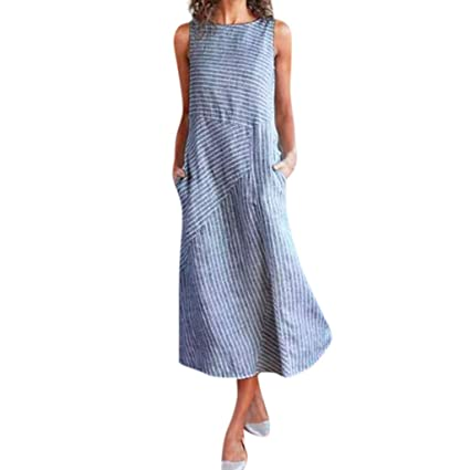 f6081627b3420b Amazon.com: Women Casual Striped Sleeveless Dress, Dianli Fashion  Sleeveless Crew Neck Linen Pocket Long Dress, Ladies Cotton And Linen  Sleeves Round Neck ...