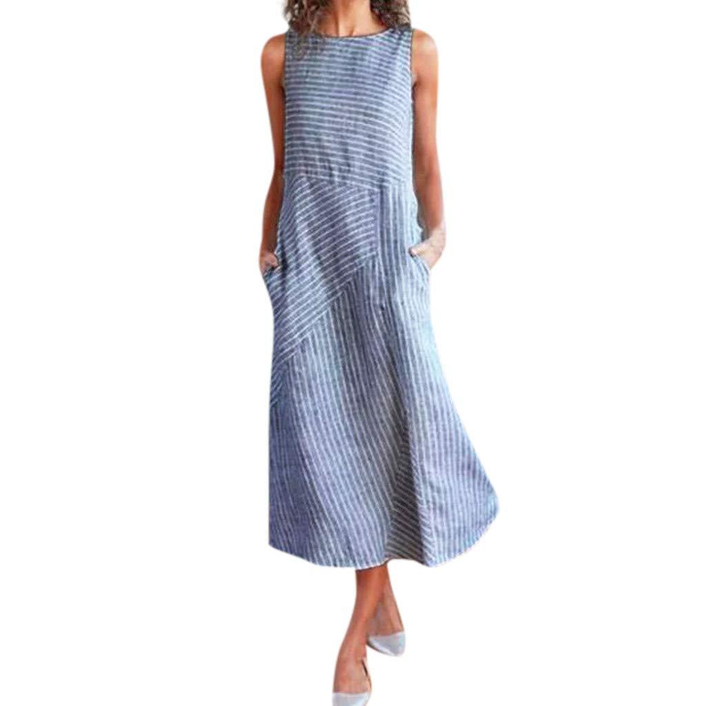 Newlyblouw Womens Casual Striped Print Dress,Ladies Summer Loose Sleeveless Crew Neck Linen Pocket Long Party Dress
