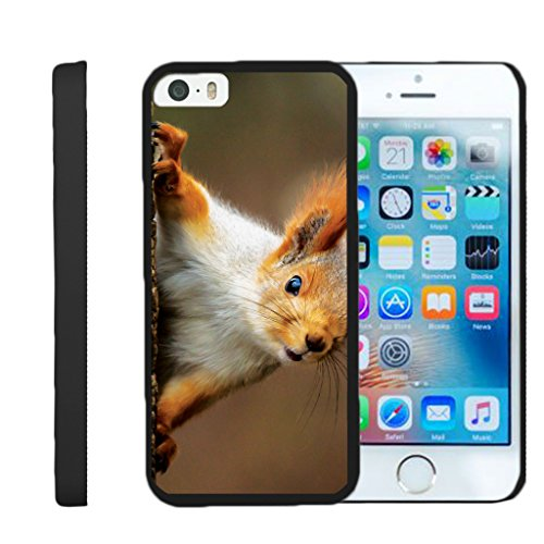 TurtleArmor | Compatible for Apple iPhone SE Case | iPhone 5/5s Case [Slim Duo] Slim Compact Hard Clip On Case Grip Matte Cover on Black Animal Design - Red Squirrel
