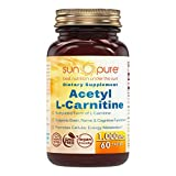 Sun Pure Premium Quality Acetyl L-Carnitine 1000 Mg Tablets Glass Bottle 60 Count Per Bottle - Promotes Energy Production - Supports Brain Health & Cognitive Function - Helps To Reduce Nerve Pain