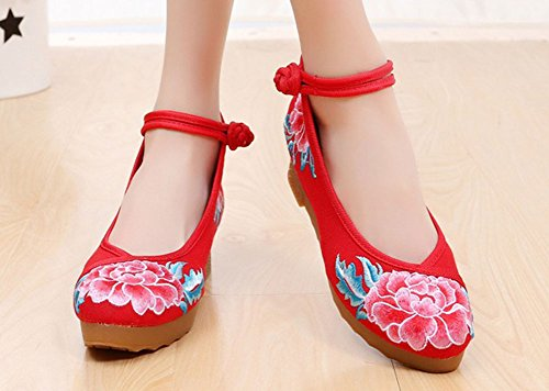 AvaCostume Womens Flower Embroidery Round Toe Casual Walking Platform Wedges Shoes Red