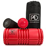 Foam Roller rumble 2 in 1 Set with Massager Ball for Deep Tissue Sports Massage / Muscle Tension & Mysofascial Release. Triggerpoint Rollers with Grid Design for Aching Back and Leg Muscles Relaxation Therapy. Knobby / Eva & Epe roller Plus Bonus Travel Bag & Exercises Instructions