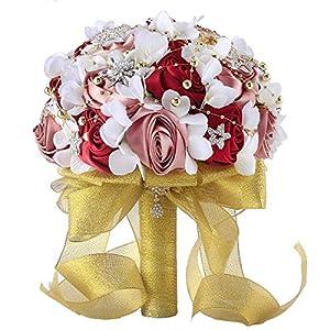 Abbie Home Silk Rose Wedding Bouquet Brooches Bridal Holding Flowers Rhinestone Décor-Burgundy+Gold 17