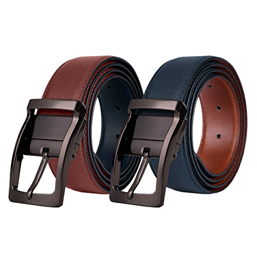 Men's Leather Belt, Reversible Belts for Man with Rotated Buckle, Blue Size36-38 (Leather Reversible Tan)