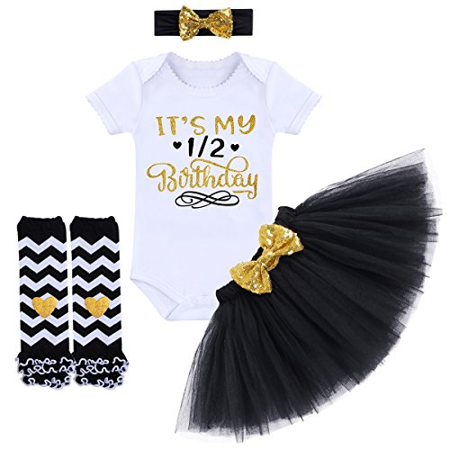 It's My 1/2 / 1st / 2nd Birthday Outfit Baby Girls Romper + Ruffle Tulle Skirt + Sequins Bow Headband + Leg Warmers Socks Party Dress up Costume 4Pcs Photo Cake Smash Clothe Set Black 6 Months ()