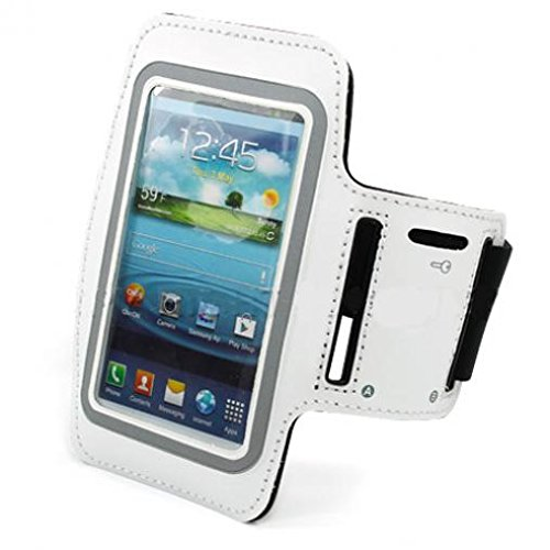 White Armband Sports Gym Workout Cover Case Running Arm Strap Band Neoprene for Boost Mobile LG X Power - Boost Mobile Samsung Galaxy J7 - Boost Mobile ZTE Warp Sync