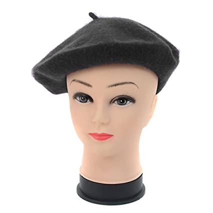 66e64d6a27f Image Unavailable. Image not available for. Color  Kaisa Lily Black Wool  French Beret Hat for Women and Girls