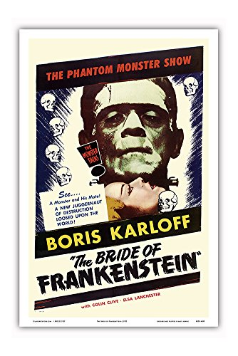 The Bride of Frankenstein - Starring Boris Karloff and Elsa Lanchester - The Monster Talks! - Vintage Film Movie Poster c.1953 - Master Art Print - 12in x 18in ()
