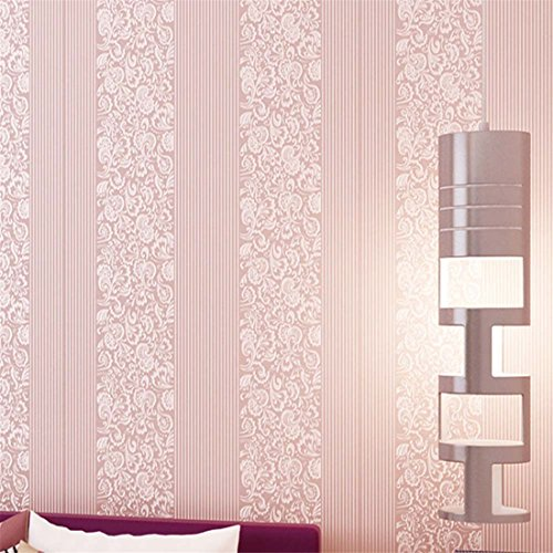 Modern Flocking Embossed 3D Non-Woven Textured Wallpaper Wedding room Girl Bedroom Decoration Romantic Pink