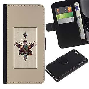 Paccase / Billetera de Cuero Caso del tirón Titular de la tarjeta Carcasa Funda para - Lapland Deer Winter Polar Alaska - Apple Iphone 5 / 5S