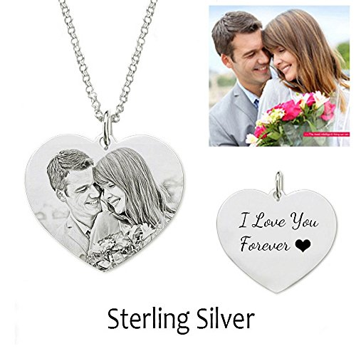 (Jack·F Necklace Custom Photo Necklace Heart Personalized Message pendant Christmas Birthday Gift (16 inches))