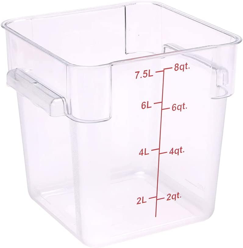 Met Lux 8 Quart Brine Bucket, 1 Square Marinating Container - With Volume Markers, Built-In Handles, Clear And Red Plastic Dough Rising Bucket, Freezer-Safe, Lids Sold Separately