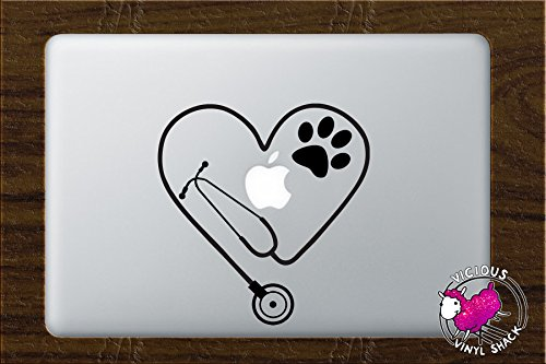 Stethoscope Heart PAW Cutout (BLACK) Vinyl Decal Stickers for MacBook Laptop Car Nursing Tough Strength Strong Strength Hope Inspiration Love Doctor Nurse Veterinarian Health Medicine Hospital Med School Vet Tech Dog Cat Bird Pets Adopt Shelter Animal Hospital Print (Cut Out Decal)