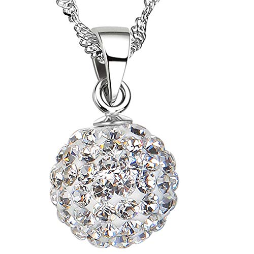 (SKA Jewelry CZ Ball Necklace for Women 12mm Sparkly Shiny Disco Ball Adjustable Pendant Necklace)