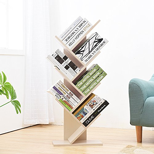 Jerry & Maggie 7 Tier Shelf Display Organizer Sloped Storage Wood Closet Multi Units Deluxe Free Stand Shelving Shelves Rack - Arrow Shaped   White Wood Tone