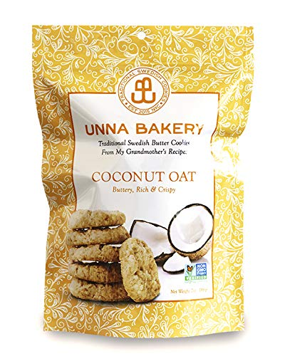 Coconut Oat Cookie from Unna Bakery. Made with all-natural, non-gmo ingredients and real butter. No additives, soy or palm oil. Certified kosher. Based in New York. 7 oz, 16 cookies. - Sugar Cookies Bakery