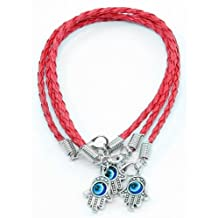 "Lot - 3 HAMSA HAND ""Evil Eye"" Red String Bracelets - Lucky Charm Pendant"