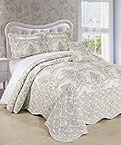 Serenta Damask 4 Piece Bedspread Set, King, Antique White