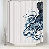 CHARMHOME Octopus Steampunk Ocean Shower Curtain,Polyester Waterproof Fabric Blue Kraken Bathroom Decor,66(W) x72(L) inch