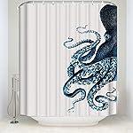CHARMHOME Steampunk Octopus Ocean Shower Curtain,Polyester Waterproof Fabric Blue Kraken Bathroom Decor 6