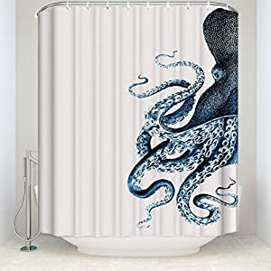CHARMHOME Steampunk Octopus Ocean Shower Curtain,Polyester Waterproof Fabric Blue Kraken Bathroom Decor