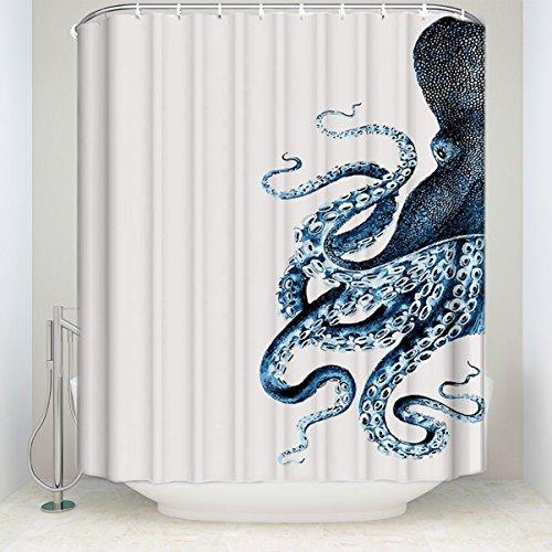 CHARMHOME Steampunk Octopus Ocean Shower Curtain,Polyester Waterproof Fabric Blue Kraken Bathroom Decor
