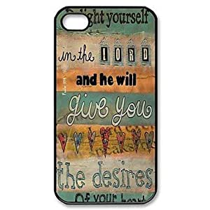 GJY Bible Verse Pattern Plastic Hard Case for iPhone 4/4S