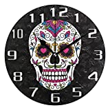WXLIFE Ethnic Mexican Sugar Skull Round Acrylic Wall Clock, Silent Non Ticking Art Painting for Kids Bedroom Living Room Office School Home Decor