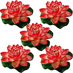 Just Artifacts 5pc Foam Lotus Floating Water Flower Candle-Free (Color: Coral Pink)