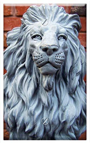 Single-Gang Blank Wall Plate Cover - Lion Statue Figure Stone Animal Feline Blue ()