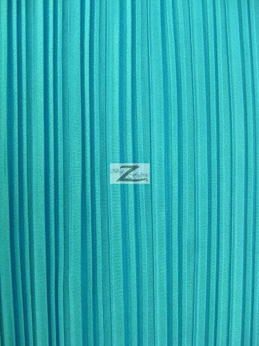 SHINY PLEATED PLISSE SATIN FABRIC - Turquoise - 59