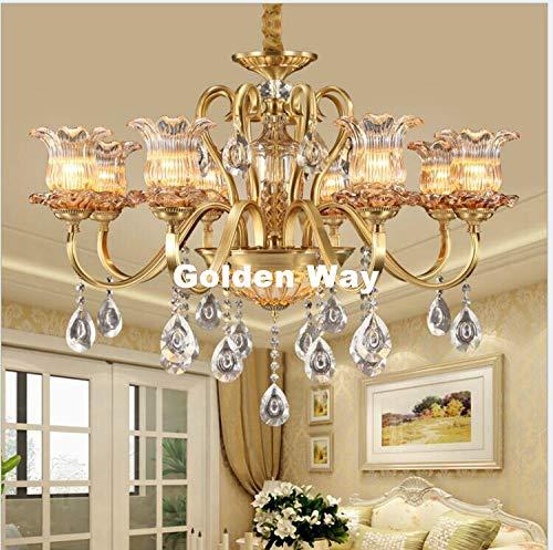 Modern Antique Bronze Color K9 Crystal Chandelier European Lingting Luxury Brass Crystal Lamp Luster Suspension - 8l Chandelier Chrome Crystal
