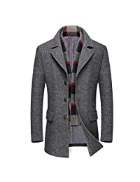 Michealboy Men's Woolen Peacoat for Winter Trench Coat Notched Collar Single Breasted with Free Removable Plaid Scarf