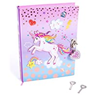 """Hot Focus Unicorn Secret Diary with Lock - 7"""" Journal Notebook with 300 Double Sided Lined Pages, Padlock and Two Keys for Kids"""