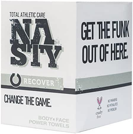 NASTY Cleansing Face & Body Wipes, Best for Post Workout & After Sports Exercise, Extra Large (10