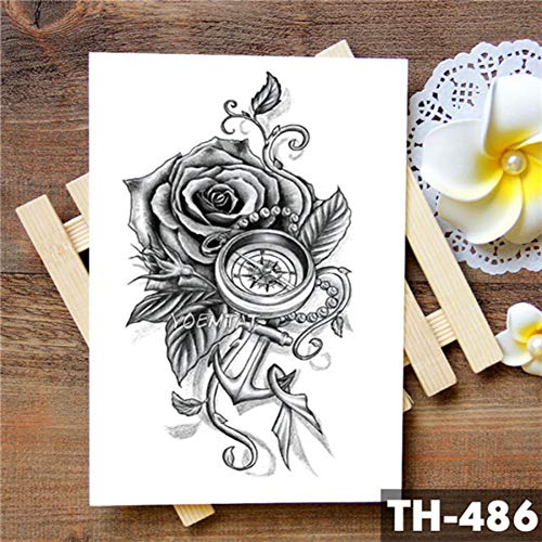 LVGU Temporary Tattoo 5pcs Different Waterproof Temporary Tattoo Sticker Black Flower Pattern Minimalist Color Rose Water Transfer Arm Body Art Flash Fake Tatoo 14.8X21Cm