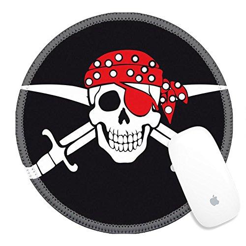 Silky Pirate Bandana (Luxlady Round Gaming Mousepad 39096806 Jolly Roger pirate flag)