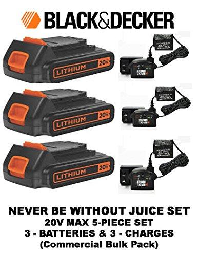Black & Decker LBXR20 20-Volt Max Lithium-Ion Battery Pack & Black & Decker 20v Lithium-ion Charger #90590282 (3 BATTERIES & 3 CHARGER 6 PIECE SET) by Exclusive ExpressUSA Black & Decker Bundle