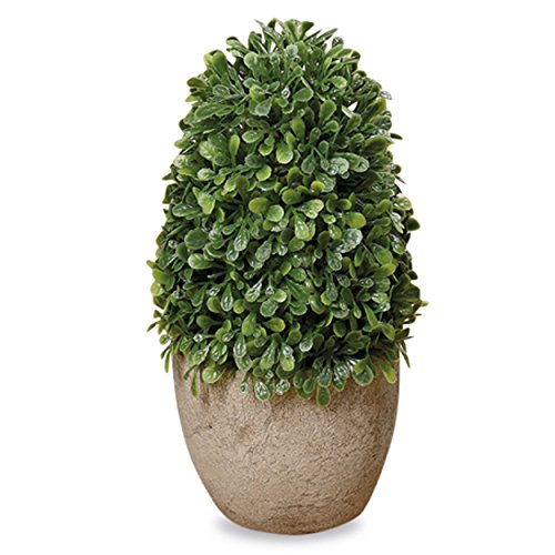 Harmony Cone - Whole House Worlds Realistic Faux Mini Boxwood Cone Topiary Tree, Gray Pot, Cast Stone, 5 1/2 Inches Tall, Mixed Materials