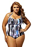 Lalagen Women's Sexy Halter Cutout Plus Size One Piece Swimsuit Swimwear Abstract XXXL
