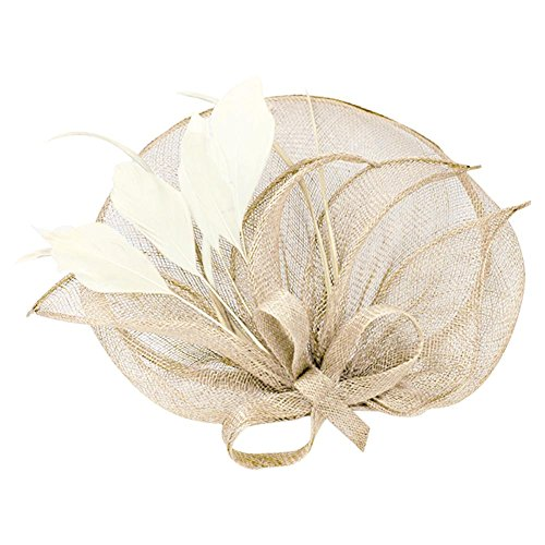 (Pop Your Dream Elegant Ladies Banquet Cambric Billycock Hair Clip with Feather Fascinator Beige)