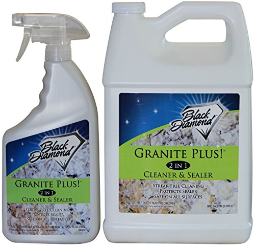 Granite Plus! 2 in 1 Cleaner & Sealer for Granite, Marble, Travertine, Limestone, Ready to Use! (1-Quart +1-Gallon) - Black Marble Top Counter