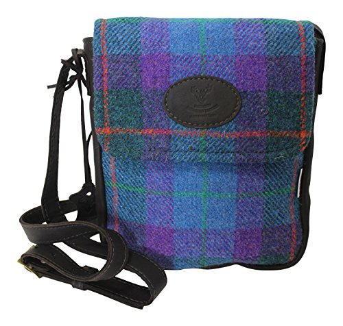 Wild Scottish Deerskin Designer Leather Authentic Tartan Check Harris Tweed Cross Over (Leather Estate Zip)
