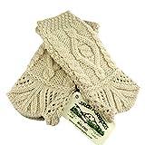 100% Irish Merino Wool Traditional Aran Knit Fingerless Gloves by West End Knitwear