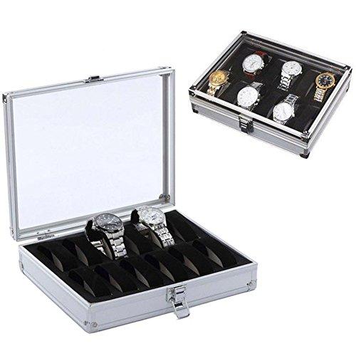 12-grid-aluminium-watch-storage-case-bracelet-organiser-professional-watches-display-box