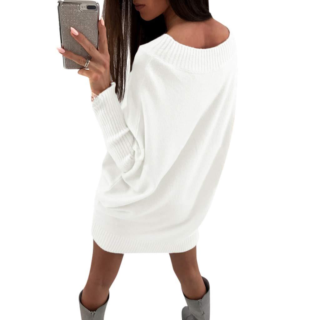 EUYOO Abito Donna Autunno Inverno Eleganti Pullover Tops Vestito Sciolto Maglia Abiti Caloroso Lungo Pullover Maglioni Collo Rotondo Vestiti Donna Invernali