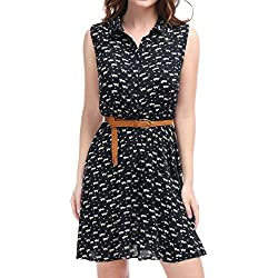 Allegra K Ladies Cat Pattern Elastic Waist Belted Shirt Dresses Dark Blue M